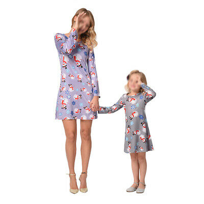 Daughter Mother Long Sleeve Christmas Matching Dress Casual Autumn Holiday Party