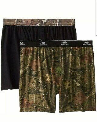 Mossy Oak Men's 2-Pack Knit Boxers- Black/Camo 2XL