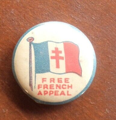 Wwi Ww2 Free French Appeal Tin Badge