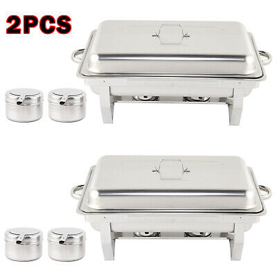 Pack Of 2 Stainless Steel Chafing Dish Sets Spoons With 9L Food Pans Fuel