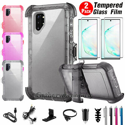 For Samsung Galaxy Note 10 Note 10 Plus Heavy Duty Transparent Case w/ Belt Clip