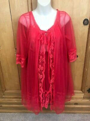 Women's Vintage 60's Babydoll & Robe Lingere M Lace by Movie Star USA NO PANTIES