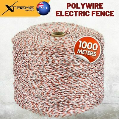 1000M Polywire Electric Fence Energiser Roll Poly Rope Insulator Stainless Steel