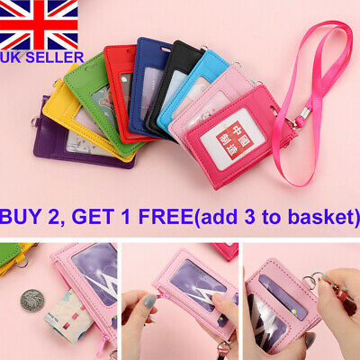 PU Leather Credit Card ID Badge Holder Bus Passes Zipper Case With Neck Strap UK