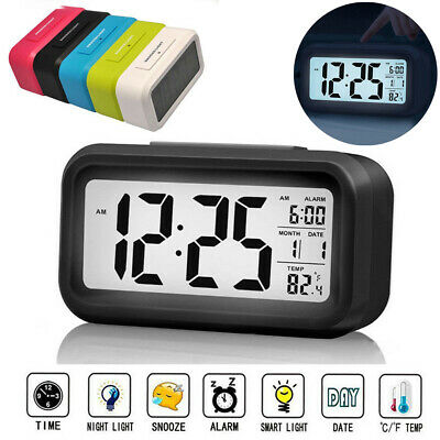 LCD Digital Snooze Electronic Alarm Clock for Kids Backlight Night Light Control