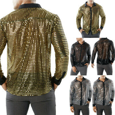 AU Men's Sequins Slim Fit Shirts Long Sleeve Casual Tops Nightclub Dance T-Shirt