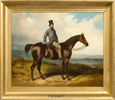 Old Master Art Antique Portrait Gentleman on Horse Oil Painting Unframed 30x40