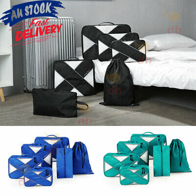 6 Packing Cubes Pouch Luggage Storage Travel Suitcase Clothes Organiser Shoe Bag