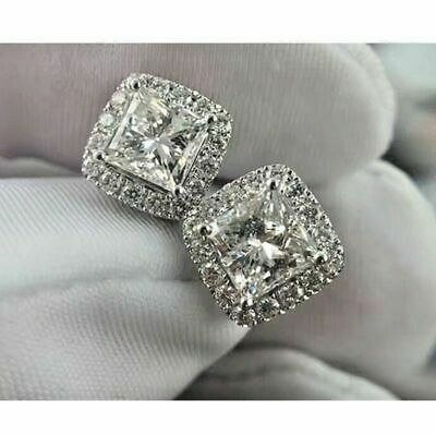 1.50 ct Princess & Round Cut Diamond Halo Stud Earrings In 14k White Gold Over