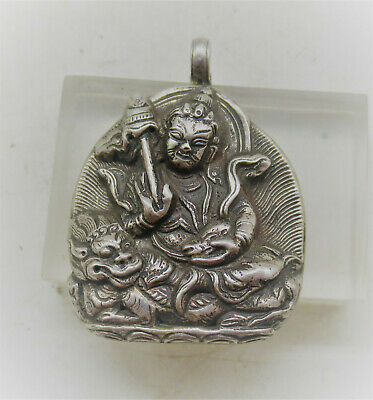 Beautiful Vintage Chinese Hallmarked Silver Amulet With Depiction Of Buddha