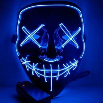 3 Modes Halloween Led Glow Mask El Wire Light Up The Purge