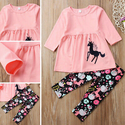 Flower Toddler Kids Baby Girls Clothes Ruffle Tops+Leggings Outfits Set New