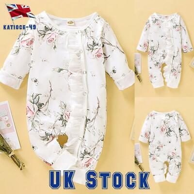 Newborn Baby Girls Jumpsuit Romper Grows Bodysuit Floral Playsuits Outfits UK