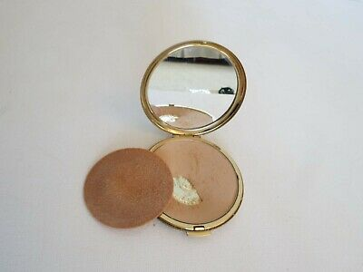 Vintage Gold Tone Etched Powder Compact by Stratton  - 1950s