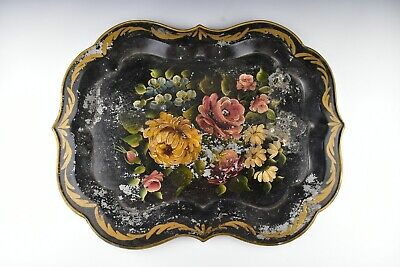 Large Antique Toleware Tray with Hand Painted Flowers