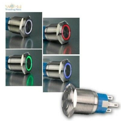 Metallschalter with Led-Ringbeleuchtung,Ø19mm Pressure Switch,Stainless Steel