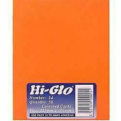 Hi-Glo Fluorescent Oblong Shaped Cards (Pack of 50)