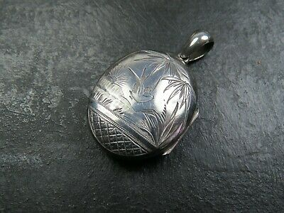 Antique Victorian Sterling Silver Aesthetic Movement Pendant Locket 1884