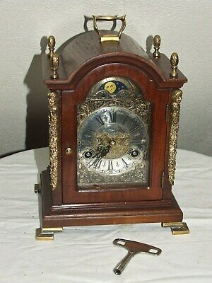 Dutch WARMINK/WUBA Bracket/Mantel/ Clock Moonphase 2 Bell Chimes