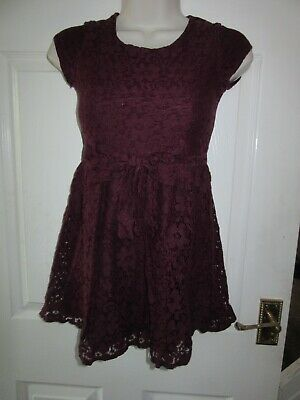 Girls NEXT Dress Age 9 Years Floral Lace Wine Red Colour Bow Party Special