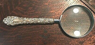 Vintage ART NOUVEAU STYLE STERLING SILVER REPOUSSE MAGNIFYING GLASS