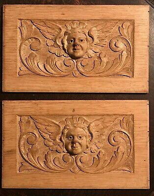 ANTIQUE HAND CARVED PAIR of ANGEL CHERUB  PUTTI WOOD PANELS, 18th/19th Century