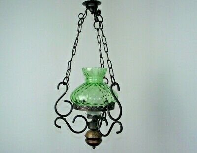 French Country Ceiling Lantern Copper Effect Metal Green Glass Shade Funnel 1575