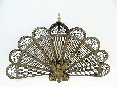 Antique Old Brass Metal Fireplace Screen Hearthware Folding Collapsible