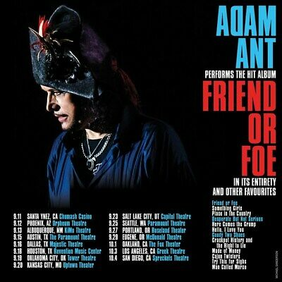 Adam Ant Front Row Orchestra Center Dallas, Tx Majestic Theater 9/16/20 New Date