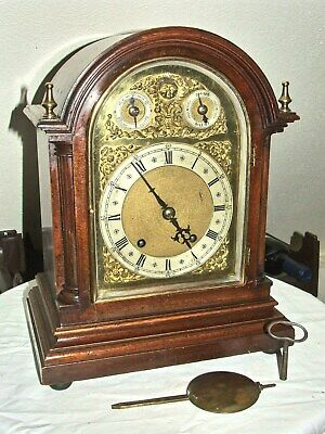 Walnut Quarter Striking Mantle Clock By Winterhalder & Hofmeier Germany c1890