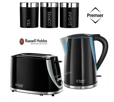 Russell Hobbs Mode Kettle and Toaster Set with Black Canisters - New