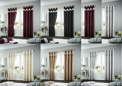 OXY Fully Lined Curtain Faux Silk Eyelet Ring Top Curtains Ready Made Tie Backs
