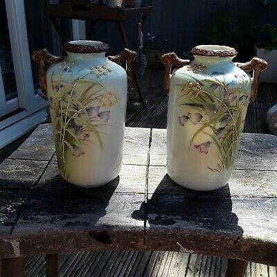 Antique Japanese Hand Painted Pair Noritake Twin Handled Vases