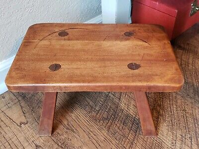 Antique Primitive Pegged Foot Stool Solid Wood Free Shipping!