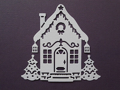 Christmas House Die Cuts x 10 - made from Paper - Scrapbooking Card Topper