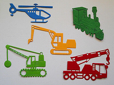 Boys Die Cuts Digger Train Helicopter x 2 each - made from Paper - Card Topper
