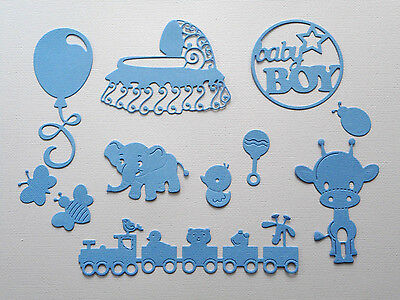 Baby Boy Die Cuts Set Bassinet - made from Paper - Scrapbooking Card Topper