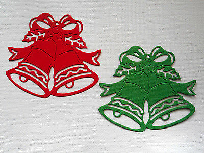 Christmas Bells Die Cuts x 5 each - made from Paper - Scrapbooking Card Topper