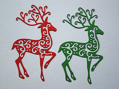 Christmas Reindeer Die Cuts x 4 each -made from Paper - Scrapbooking Card Topper