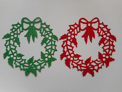 Christmas Wreath Die Cuts x 4 each - made from Paper - Scrapbooking Card Topper