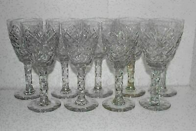 "9 Antique Cut Glass 7"" Wine/Water Goblets-Thumbprint Fan Diamond"