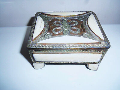 Nice Old Middle Eastern  Hand Made Bone, Copper And Silver Hinged Box