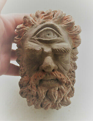 Circa 200-300Ad Ancient Gandhara Stucco Statue Fragment Head Of Buddha