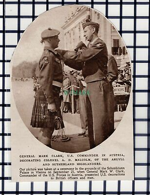 C6120) Colonel A D Malcolm Argyll Sutherland Highlanders Vienna ~ 1945 Cutting