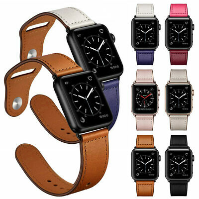 Genuine Leather Band For iWatch Apple Watch Series 5 4 3 2 1 40mm 44mm 38mm 42mm