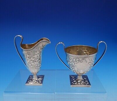 Davis and Galt Sterling Silver Sugar Creamer Set 2pc #68 w/Leaf Design (#3666)
