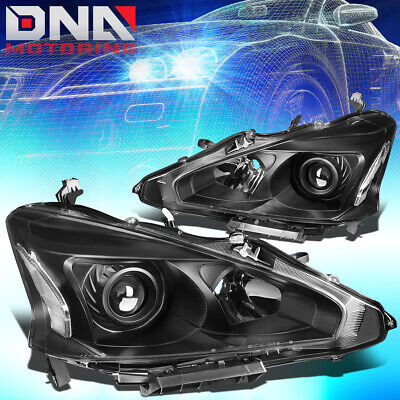For 2013-2015 Nissan Altima Sedan Pair Projector Headlight Lamp Set Black/Clear