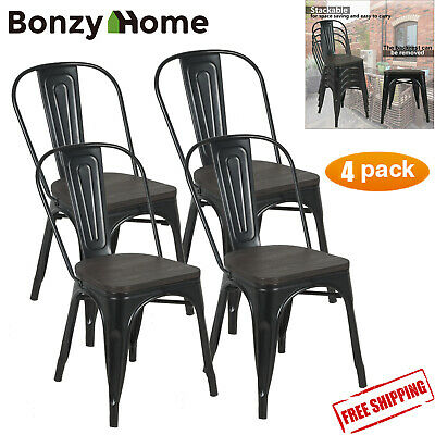 "30"" Metal Counter Stool Dining Chair Backrest Set of 4 Stackable Side +Wood Seat"