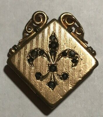 ANTIQUE Fleur De Lis GF LOCKET Signed W&H Co Pendant VICTORIAN 1904~For REPAIR
