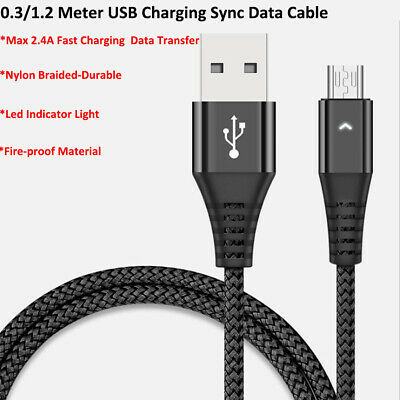 0.3M 1.2M Micro USB Type-C Nylon Braided 2.4 A Fast Charging Sync Data Cable